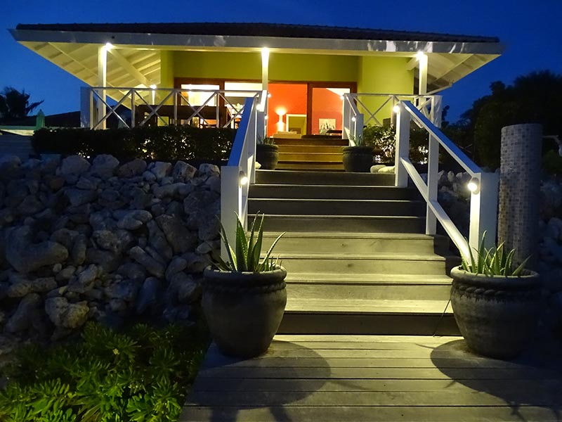 Caribbean Ocean front villa at night - vacation rental Curacao